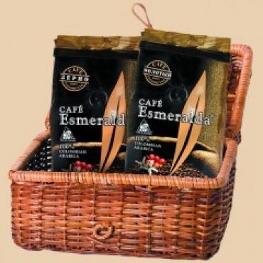 Подарочный набор в плетеной корзине (зерно 250г + молотый 250г)