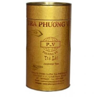 Вьетнамский зеленый чай Ca Phe Phunong Vy(Фон Ви) с лепестками жасмина в тубе,150 Г