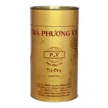 Вьетнамский зеленый чай Ca Phe Phunong Vy(Фон Ви)  с лепестками лотоса  в тубе,150 Г