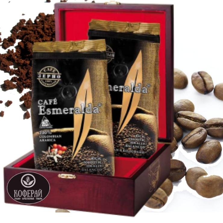 Молотый и зерновой  кофе в деревянной шкатулке для настоящего гурмана,500 г