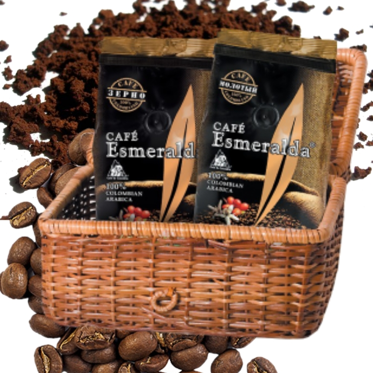 Молотый и зерновой кофе в плетеной корзине для ценителей новизны, 500 г Обжарен и упакован в Колумбии.
