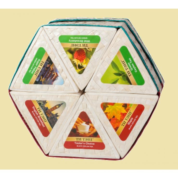 Чай в плетеной шестигранной коробке. Ручная работа цейлонских мастеров!