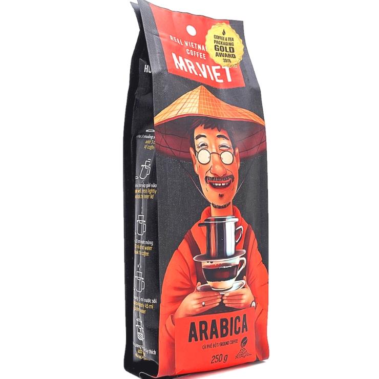Вьетнамский кофе  в  зернах  M. Viet  арабика, 250 г  + Бесплатно  фильтр - пресс  при  заказе от 1 кг!