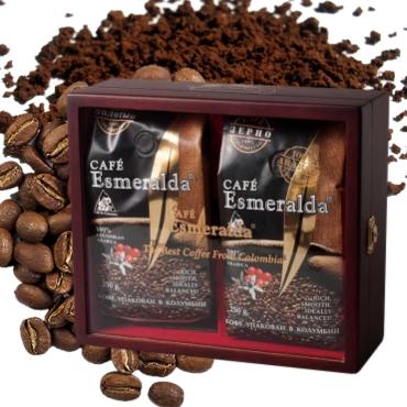Молотый и зерновой кофе в деревянной шкатулке со стеклом для настоящего гурмана, 500 г Обжарен и упакован в Колумбии.