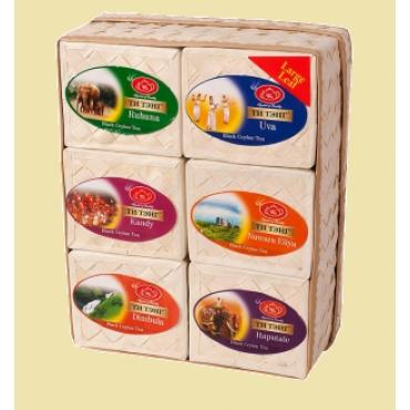 Чай в прямоугольной плетеной коробке. Три различных варианта.