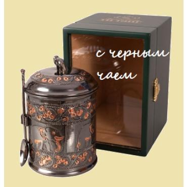 Чайница в деревянной шкатулке со стеклом. Различные варианты.