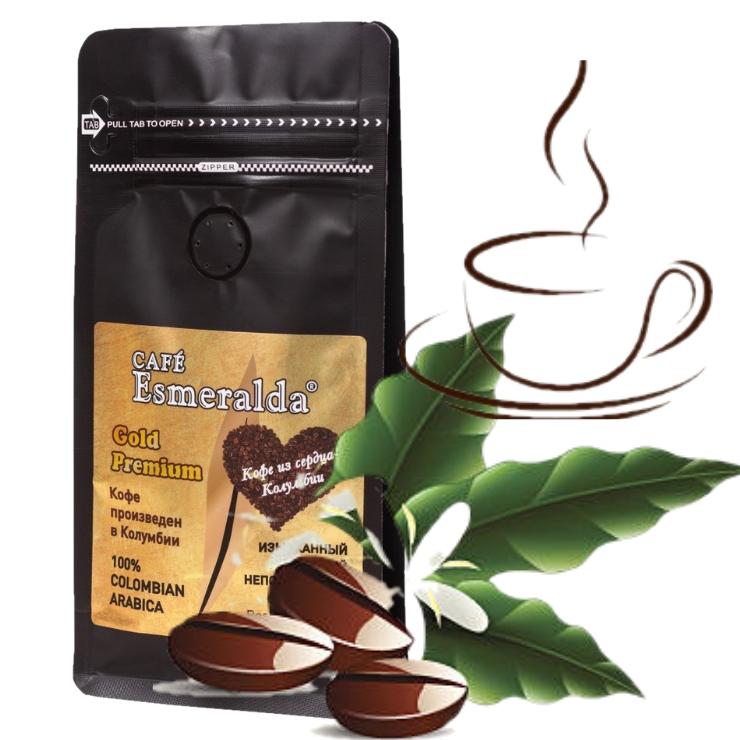 Кофе в зернах средней обжарки Gold Premium,500г Ароматный  напиток с шоколадно-ореховым вкусом. Произведено и упаковано в Колумбии.