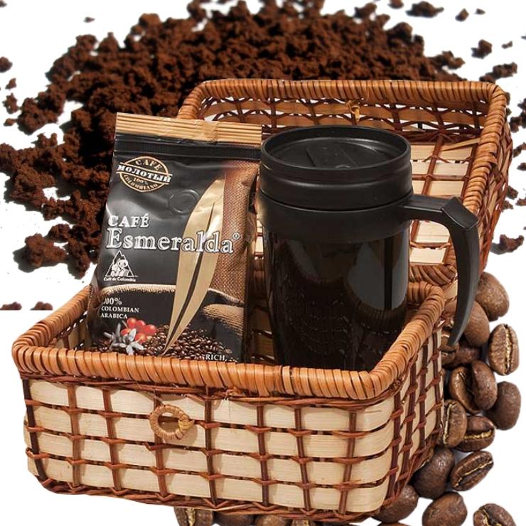 Кофе в зернах с термокружкой в плетеной корзине для путешествий, 250 г Обжарен и упакован в Колумбии.